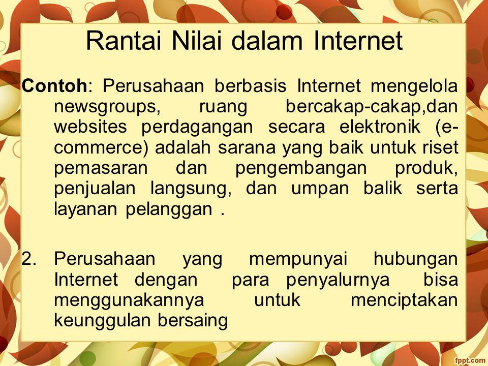 Rantai Nilai dalam Internet Contoh: Perusahaan berbasis Internet mengelola newsgroups, ruang bercakap-cakap,dan websites perdagangan secara elektronik