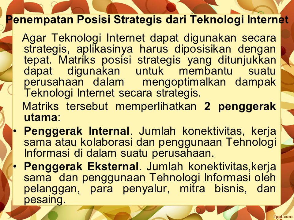 Penempatan Posisi Strategis dari Teknologi Internet Agar Teknologi Internet dapat digunakan secara strategis, aplikasinya harus diposisikan dengan tep