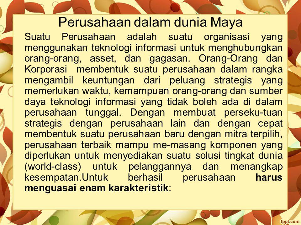 Perusahaan dalam dunia Maya Suatu Perusahaan adalah suatu organisasi yang menggunakan teknologi informasi untuk menghubungkan orang-orang, asset, dan