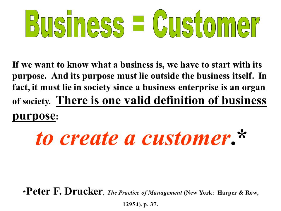 If we want to know what a business is, we have to start with its purpose.
