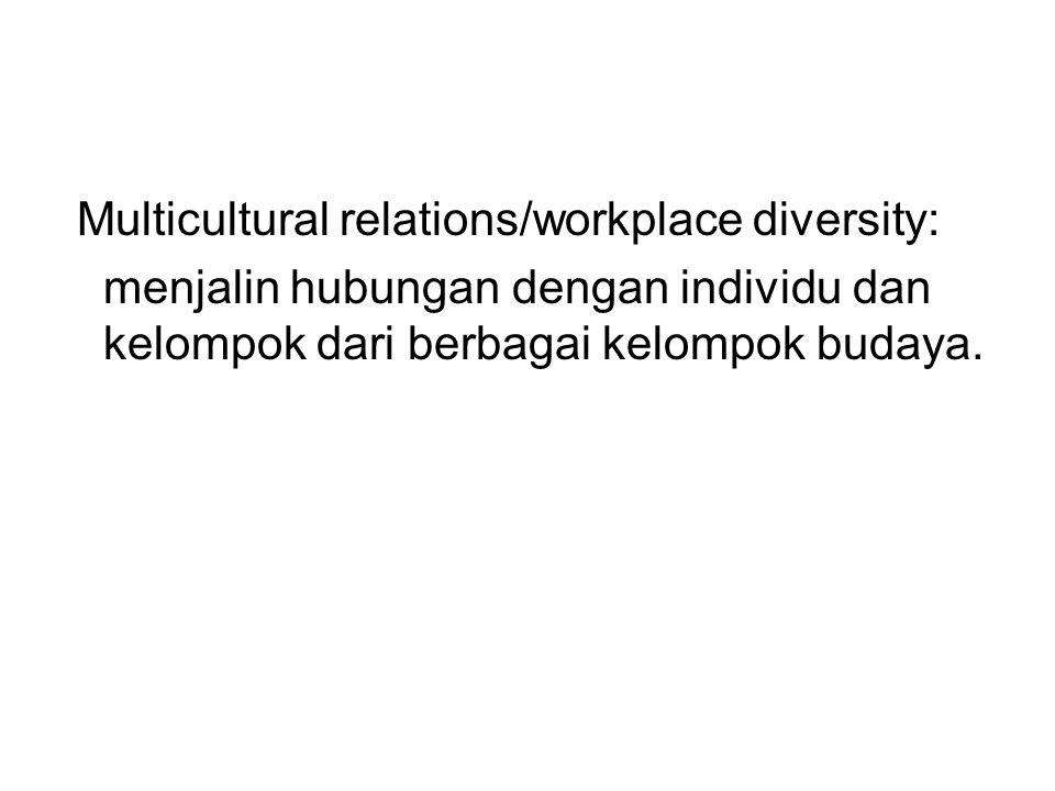 Multicultural relations/workplace diversity: menjalin hubungan dengan individu dan kelompok dari berbagai kelompok budaya.