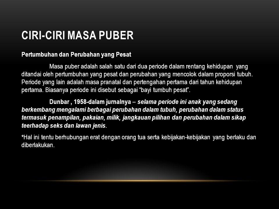 CIRI-CIRI MASA PUBER Masa Puber – Fase Negatif Carlote Buhler, 1927 – fase Negatif.
