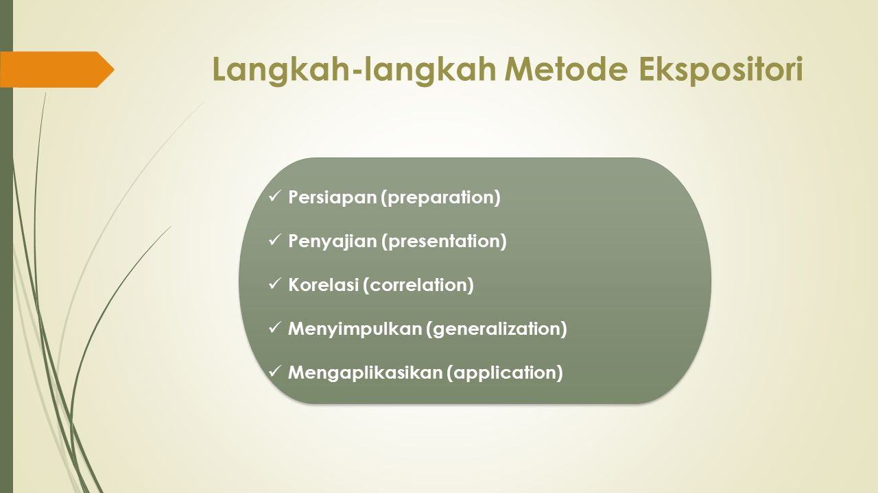 Langkah-langkah Metode Ekspositori Persiapan (preparation) Penyajian (presentation) Korelasi (correlation) Menyimpulkan (generalization) Mengaplikasik