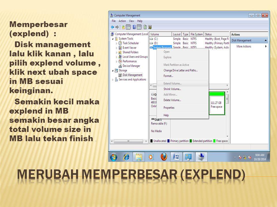 - Memperkecil (Shrink) Disk Management lalu klik kanan lalu pilih shrink volume ubah shrink in MB sesuai keinginan.