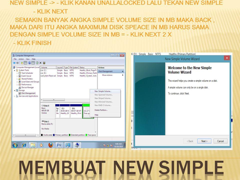 Memperbesar (explend) : Disk management lalu klik kanan, lalu pilih explend volume, klik next ubah space in MB sesuai keinginan.