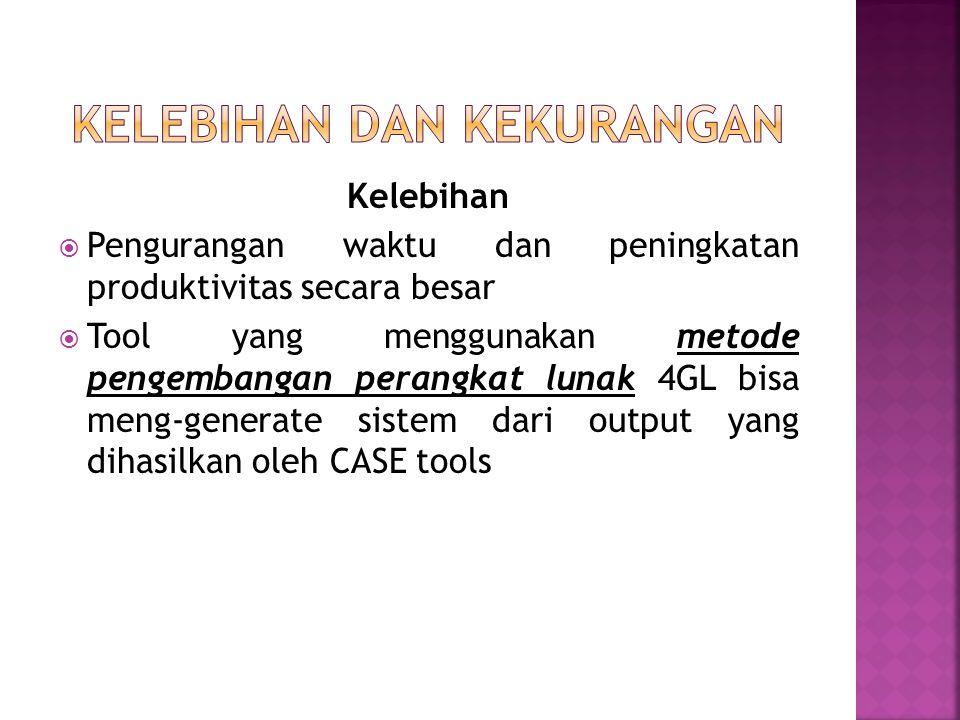 Kelebihan  Pengurangan waktu dan peningkatan produktivitas secara besar  Tool yang menggunakan metode pengembangan perangkat lunak 4GL bisa meng-generate sistem dari output yang dihasilkan oleh CASE tools