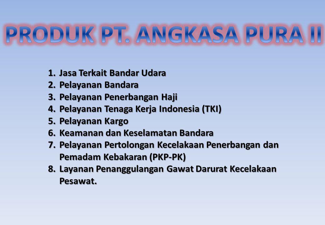1.Jasa Terkait Bandar Udara 2.Pelayanan Bandara 3.Pelayanan Penerbangan Haji 4.Pelayanan Tenaga Kerja Indonesia (TKI) 5.Pelayanan Kargo 6.Keamanan dan