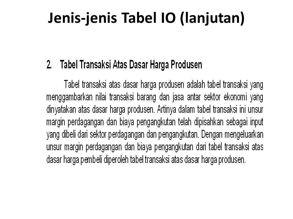 Jenis-jenis Tabel IO (lanjutan)