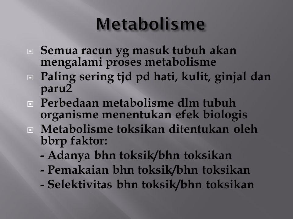  Semua racun yg masuk tubuh akan mengalami proses metabolisme  Paling sering tjd pd hati, kulit, ginjal dan paru2  Perbedaan metabolisme dlm tubuh organisme menentukan efek biologis  Metabolisme toksikan ditentukan oleh bbrp faktor: - Adanya bhn toksik/bhn toksikan - Pemakaian bhn toksik/bhn toksikan - Selektivitas bhn toksik/bhn toksikan