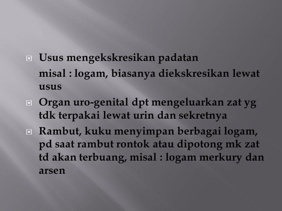  Usus mengekskresikan padatan misal : logam, biasanya diekskresikan lewat usus  Organ uro-genital dpt mengeluarkan zat yg tdk terpakai lewat urin da
