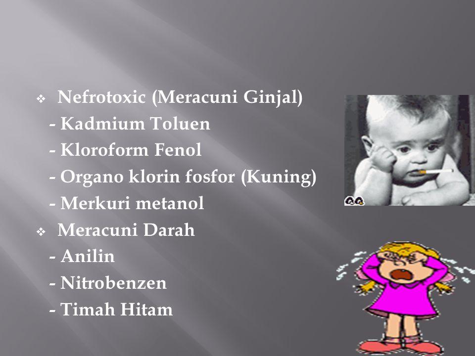  Nefrotoxic (Meracuni Ginjal) - Kadmium Toluen - Kloroform Fenol - Organo klorin fosfor (Kuning) - Merkuri metanol  Meracuni Darah - Anilin - Nitrob