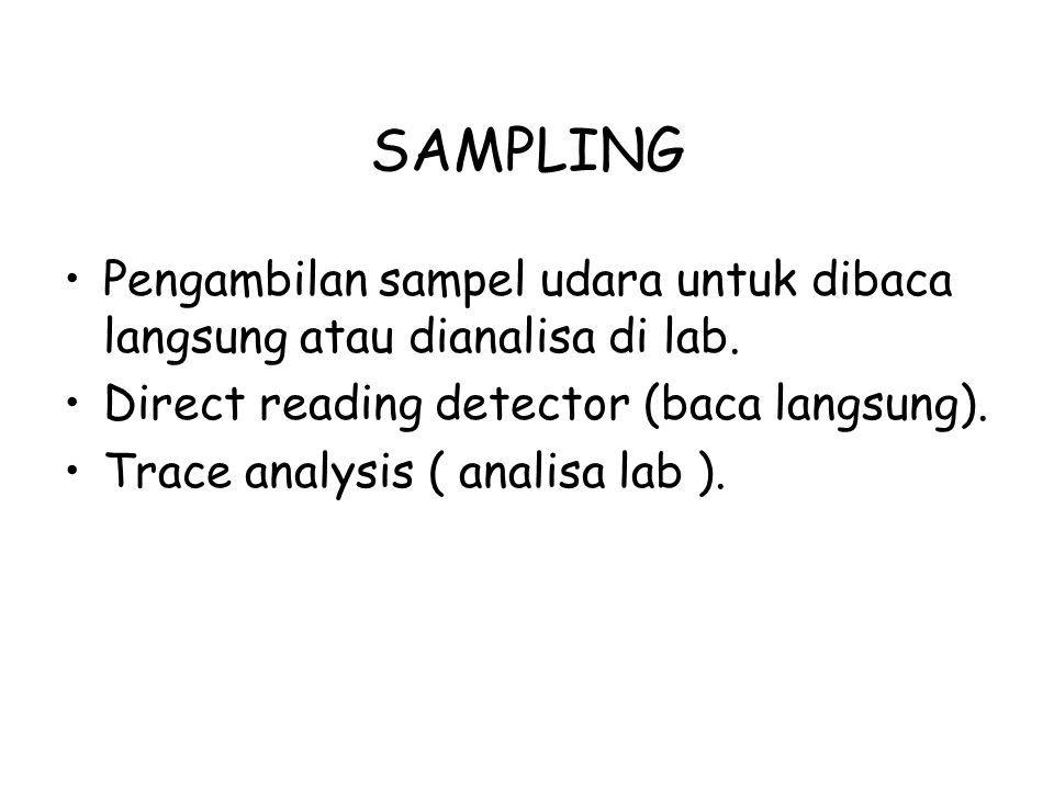 SAMPLING Pengambilan sampel udara untuk dibaca langsung atau dianalisa di lab. Direct reading detector (baca langsung). Trace analysis ( analisa lab )