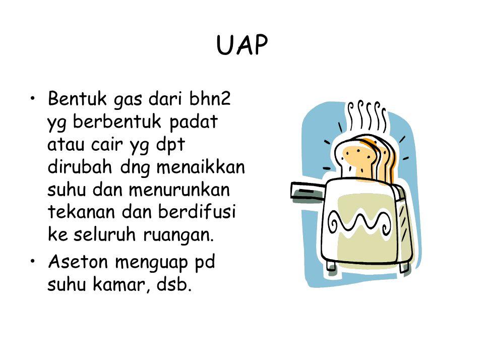 UAP Bentuk gas dari bhn2 yg berbentuk padat atau cair yg dpt dirubah dng menaikkan suhu dan menurunkan tekanan dan berdifusi ke seluruh ruangan. Aseto