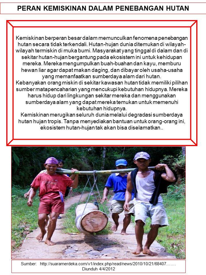 Sumber: http://suaramerdeka.com/v1/index.php/read/news/2010/10/21/68407……. Diunduh 4/4/2012 PERAN KEMISKINAN DALAM PENEBANGAN HUTAN Kemiskinan berpera