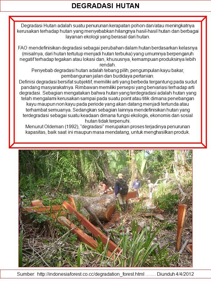 Sumber: http://indonesiaforest.co.cc/degradation_forest.html ……. Diunduh 4/4/2012 DEGRADASI HUTAN Degradasi Hutan adalah suatu penurunan kerapatan poh