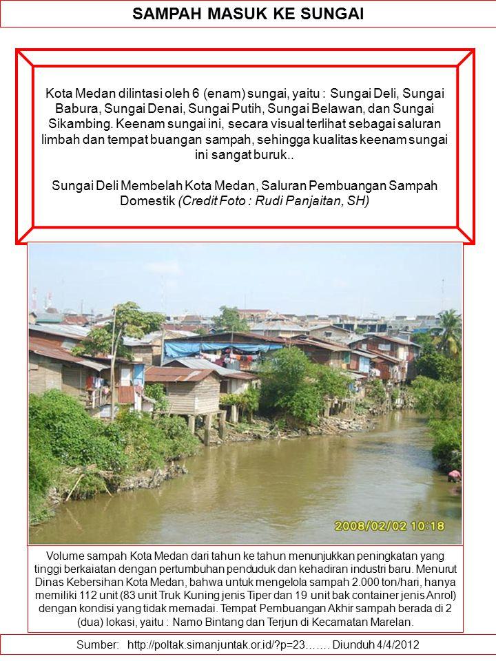 Sumber: http://poltak.simanjuntak.or.id/?p=23……. Diunduh 4/4/2012 SAMPAH MASUK KE SUNGAI Kota Medan dilintasi oleh 6 (enam) sungai, yaitu : Sungai Del