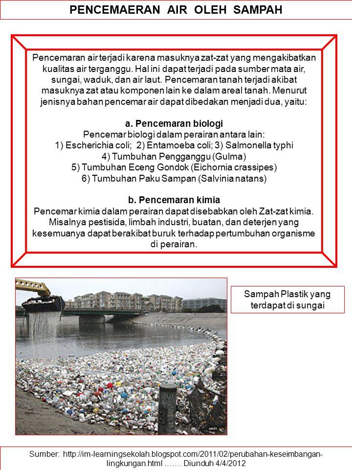 Sumber: http://im-learningsekolah.blogspot.com/2011/02/perubahan-keseimbangan- lingkungan.html ……. Diunduh 4/4/2012 PENCEMAERAN AIR OLEH SAMPAH Pencem