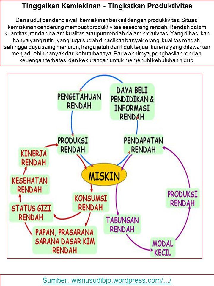 Sumber: wisnusudibjo.wordpress.com/.../ Tinggalkan Kemiskinan - Tingkatkan Produktivitas Dari sudut pandang awal, kemiskinan berkait dengan produktivi