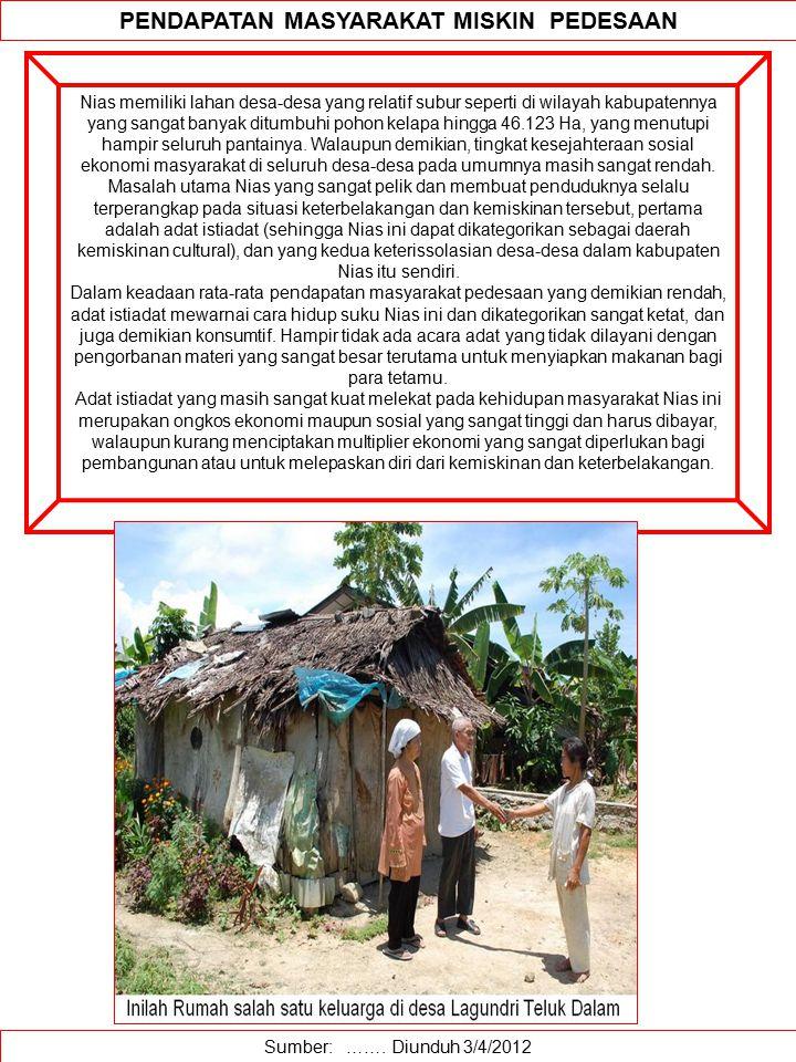 Sumber: ……. Diunduh 3/4/2012 PENDAPATAN MASYARAKAT MISKIN PEDESAAN Nias memiliki lahan desa-desa yang relatif subur seperti di wilayah kabupatennya ya