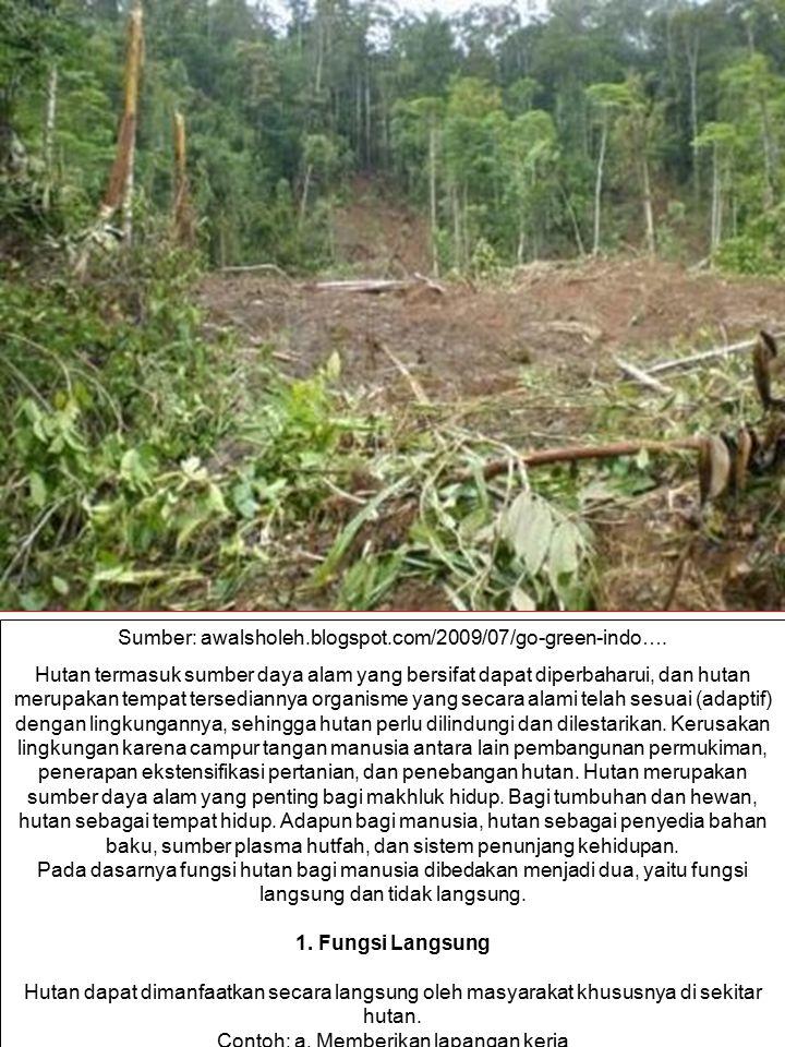 Sumber: awalsholeh.blogspot.com/2009/07/go-green-indo…. Hutan termasuk sumber daya alam yang bersifat dapat diperbaharui, dan hutan merupakan tempat t
