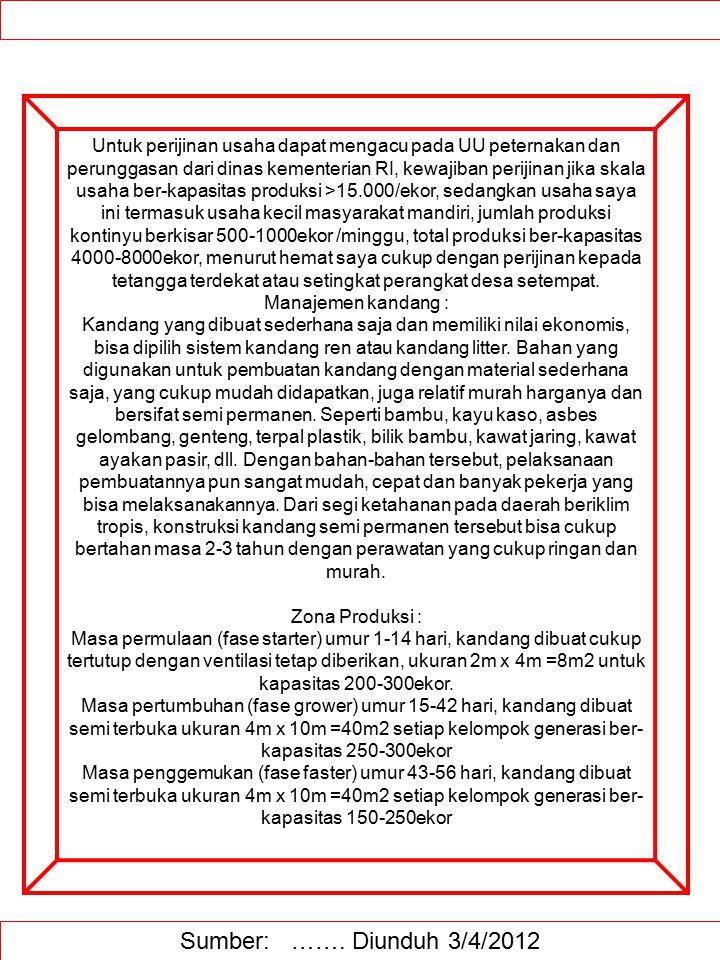 Sumber: ……. Diunduh 3/4/2012 Untuk perijinan usaha dapat mengacu pada UU peternakan dan perunggasan dari dinas kementerian RI, kewajiban perijinan jik