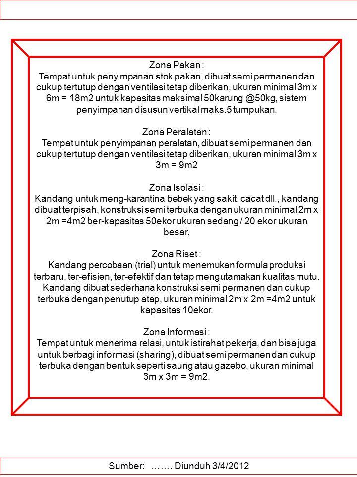 Sumber: ……. Diunduh 3/4/2012 Zona Pakan : Tempat untuk penyimpanan stok pakan, dibuat semi permanen dan cukup tertutup dengan ventilasi tetap diberika