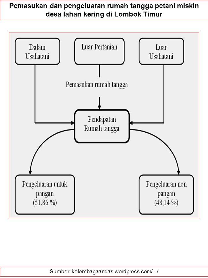 Sumber: kelembagaandas.wordpress.com/.../ Pemasukan dan pengeluaran rumah tangga petani miskin desa lahan kering di Lombok Timur