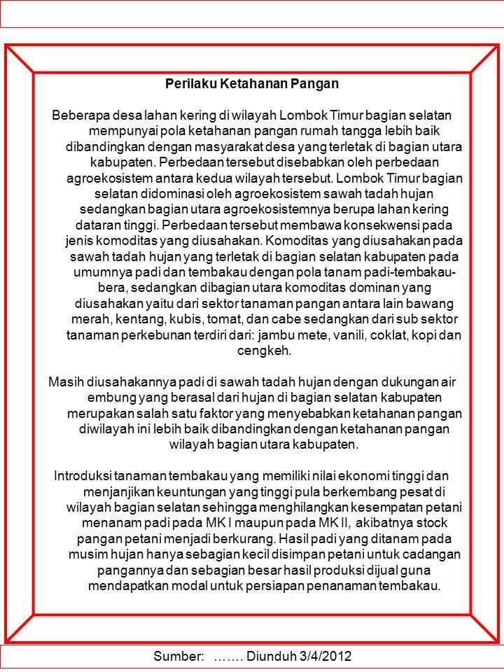 Sumber: ……. Diunduh 3/4/2012 Perilaku Ketahanan Pangan Beberapa desa lahan kering di wilayah Lombok Timur bagian selatan mempunyai pola ketahanan pang