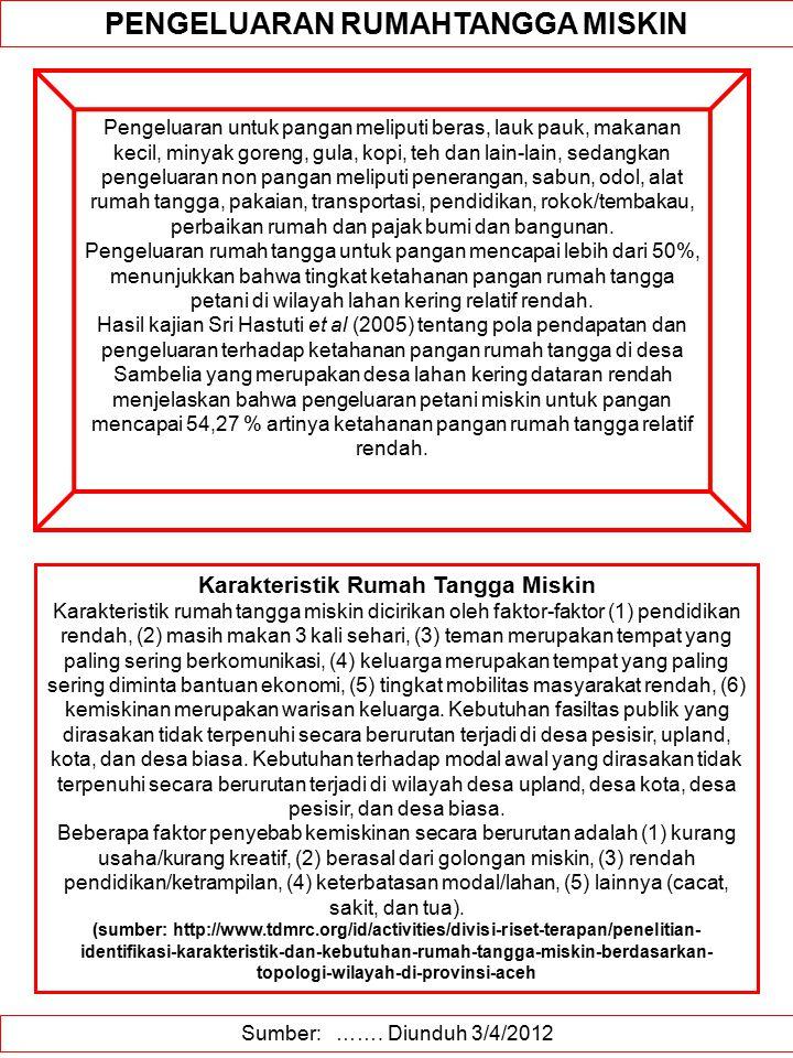 Sumber: ……. Diunduh 3/4/2012 PENGELUARAN RUMAHTANGGA MISKIN Pengeluaran untuk pangan meliputi beras, lauk pauk, makanan kecil, minyak goreng, gula, ko