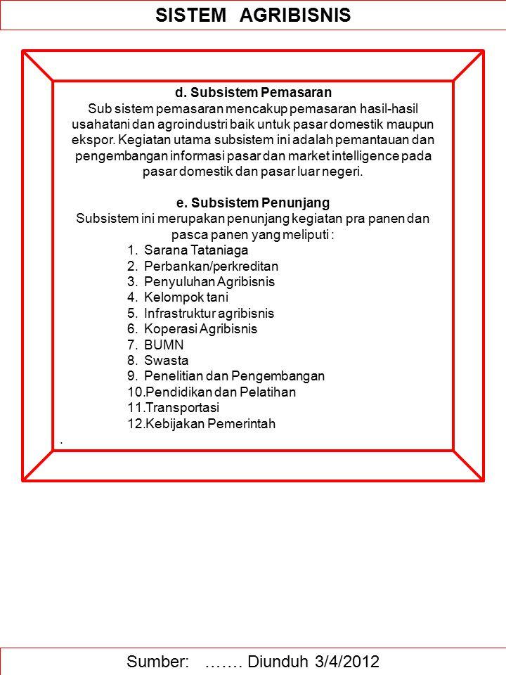 Sumber: ……. Diunduh 3/4/2012 SISTEM AGRIBISNIS d. Subsistem Pemasaran Sub sistem pemasaran mencakup pemasaran hasil-hasil usahatani dan agroindustri b