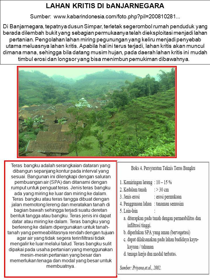 LAHAN KRITIS DI bANJARNEGARA Sumber: www.kabarindonesia.com/foto.php?pil=200810281... Di Banjarnegara, tepatnya dusun Simpar, terletak segerombol ruma