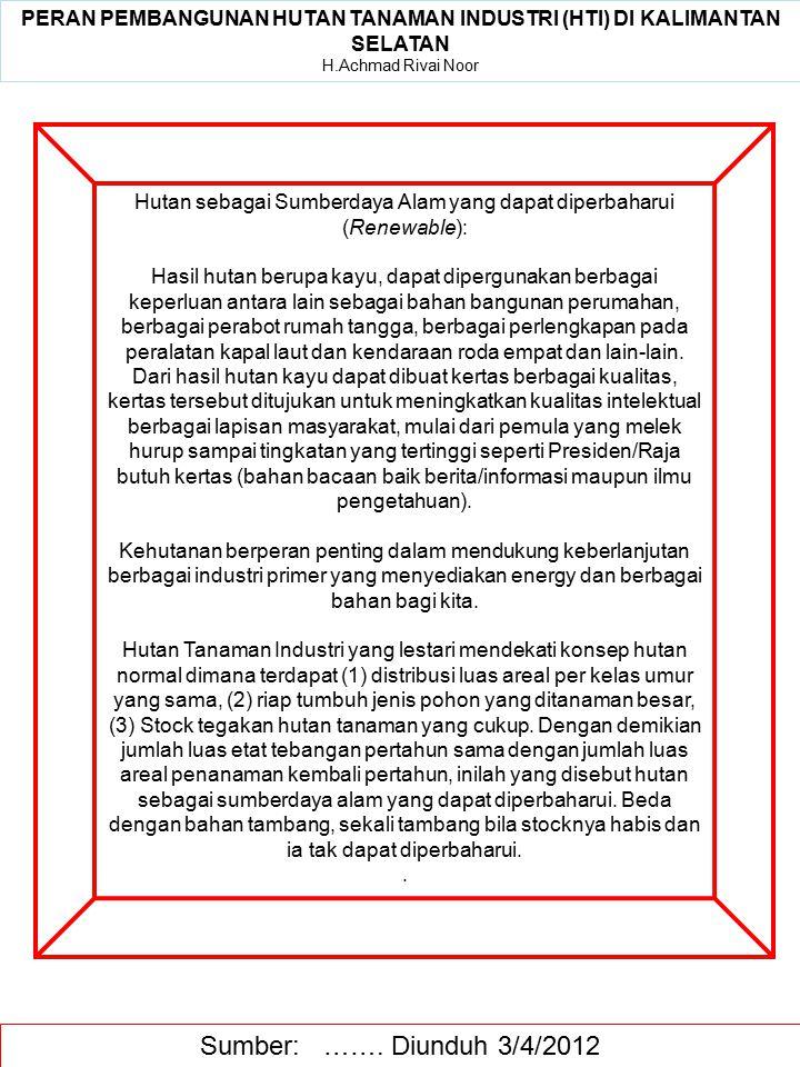 Sumber: ……. Diunduh 3/4/2012 Hutan sebagai Sumberdaya Alam yang dapat diperbaharui (Renewable): Hasil hutan berupa kayu, dapat dipergunakan berbagai k