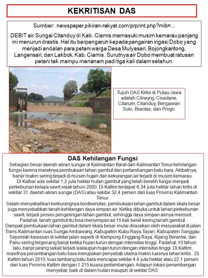 Sumber: newspaper.pikiran-rakyat.com/prprint.php?mib=... DEBIT air Sungai Citanduy di Kab. Ciamis memasuki musim kemarau panjang ini menurun drastis.