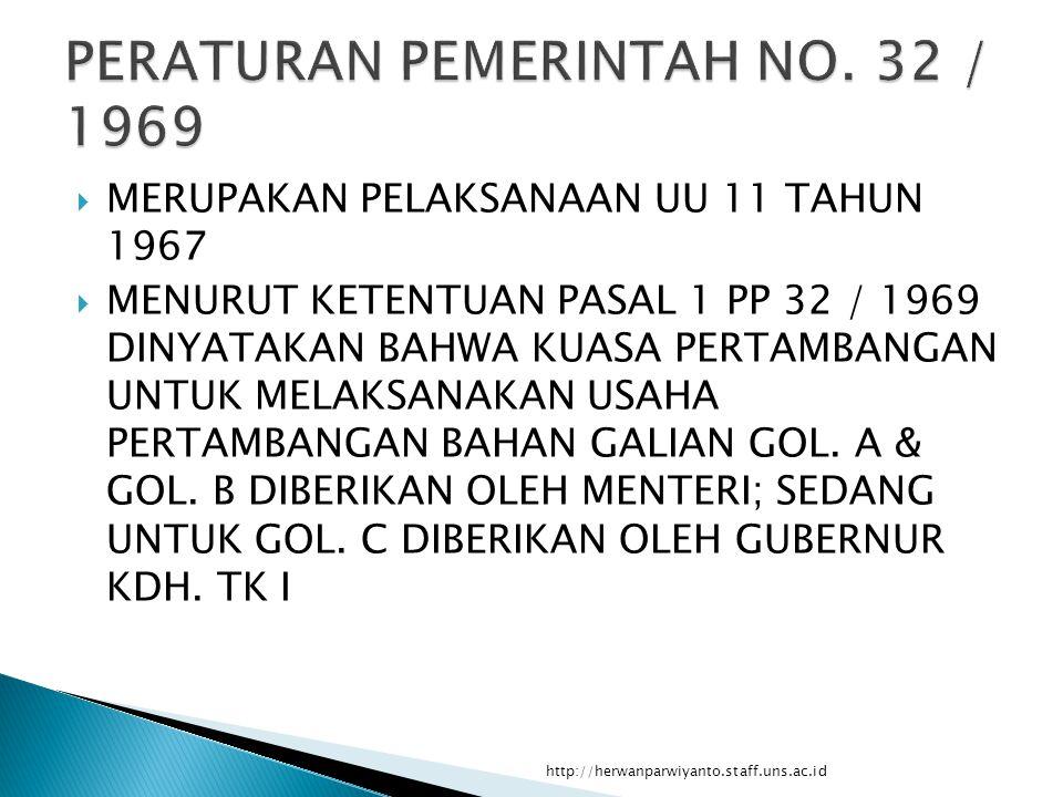  MERUPAKAN PELAKSANAAN UU 11 TAHUN 1967  MENURUT KETENTUAN PASAL 1 PP 32 / 1969 DINYATAKAN BAHWA KUASA PERTAMBANGAN UNTUK MELAKSANAKAN USAHA PERTAMBANGAN BAHAN GALIAN GOL.