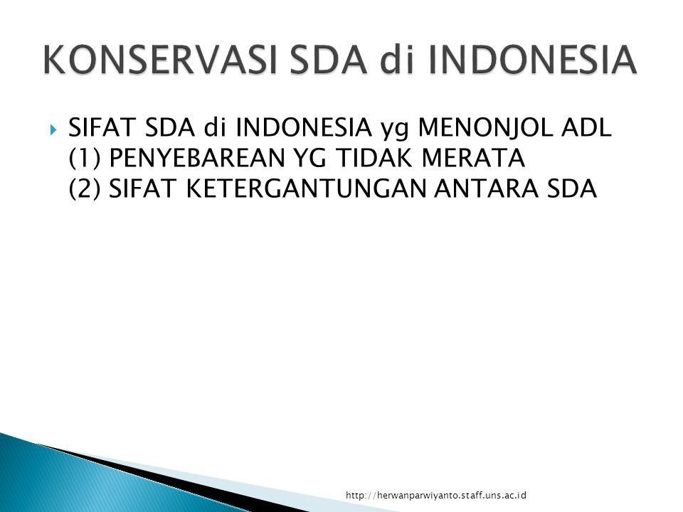  SIFAT SDA di INDONESIA yg MENONJOL ADL (1) PENYEBAREAN YG TIDAK MERATA (2) SIFAT KETERGANTUNGAN ANTARA SDA http://herwanparwiyanto.staff.uns.ac.id