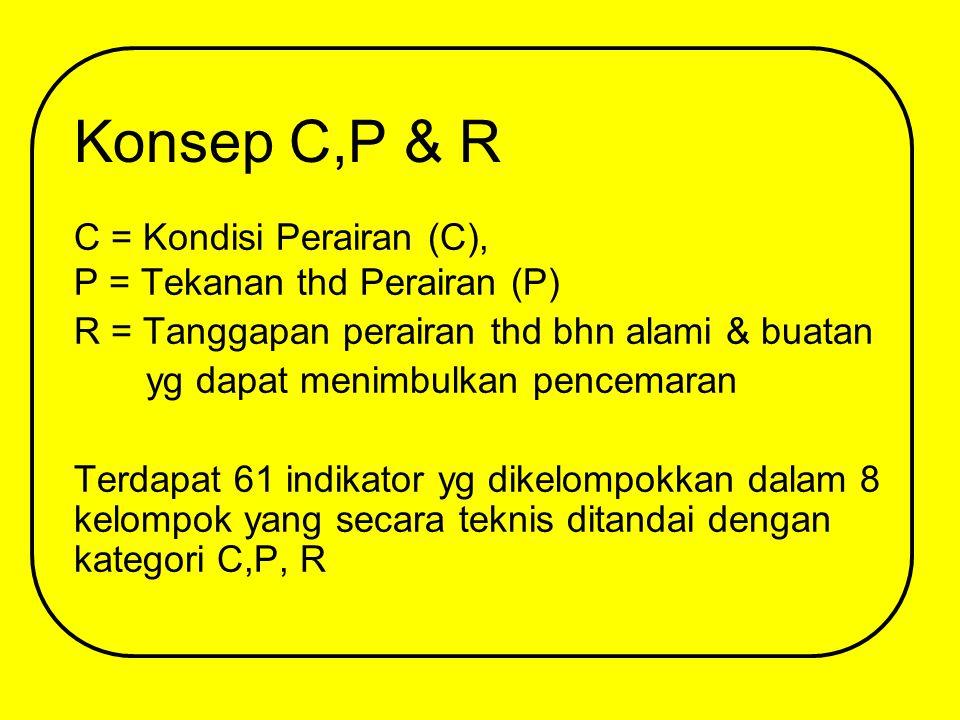 Konsep C,P & R C = Kondisi Perairan (C), P = Tekanan thd Perairan (P) R = Tanggapan perairan thd bhn alami & buatan yg dapat menimbulkan pencemaran Terdapat 61 indikator yg dikelompokkan dalam 8 kelompok yang secara teknis ditandai dengan kategori C,P, R