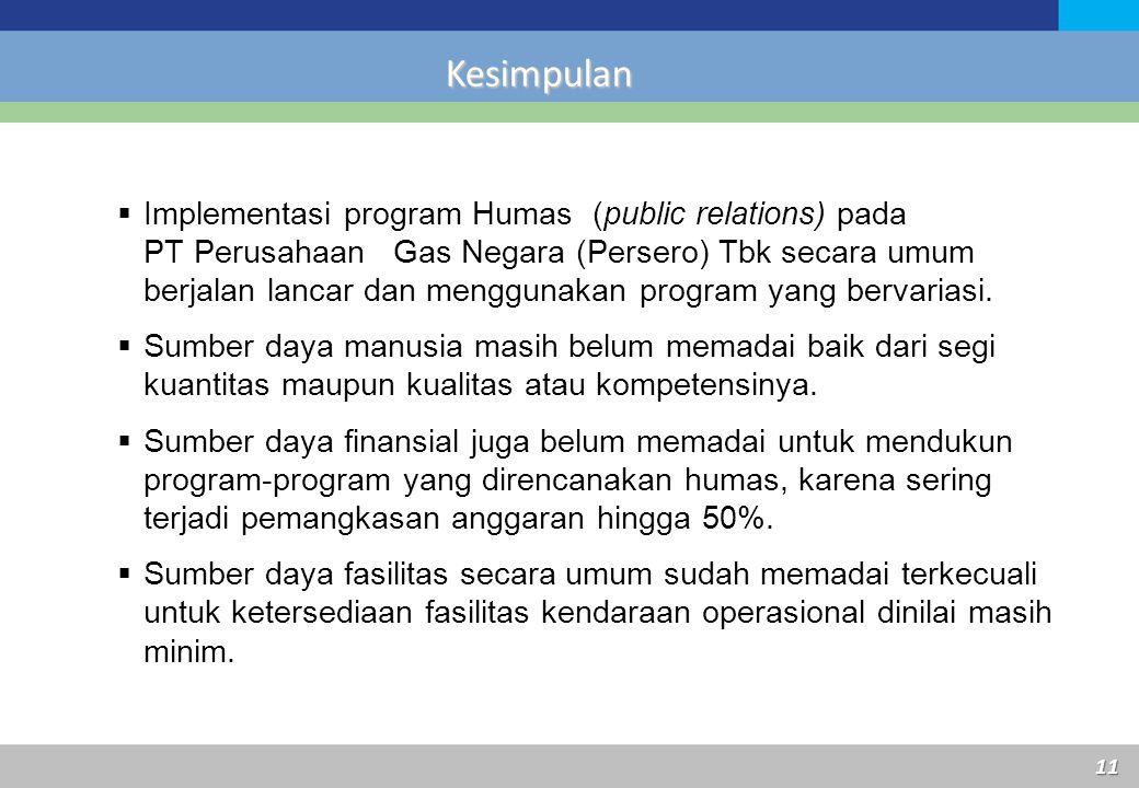 Kesimpulan 11  Implementasi program Humas (public relations) pada PT Perusahaan Gas Negara (Persero) Tbk secara umum berjalan lancar dan menggunakan