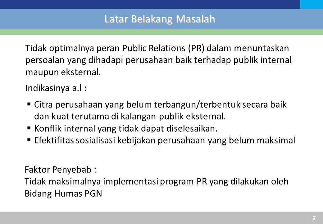 2 Latar Belakang Masalah Tidak optimalnya peran Public Relations (PR) dalam menuntaskan persoalan yang dihadapi perusahaan baik terhadap publik intern