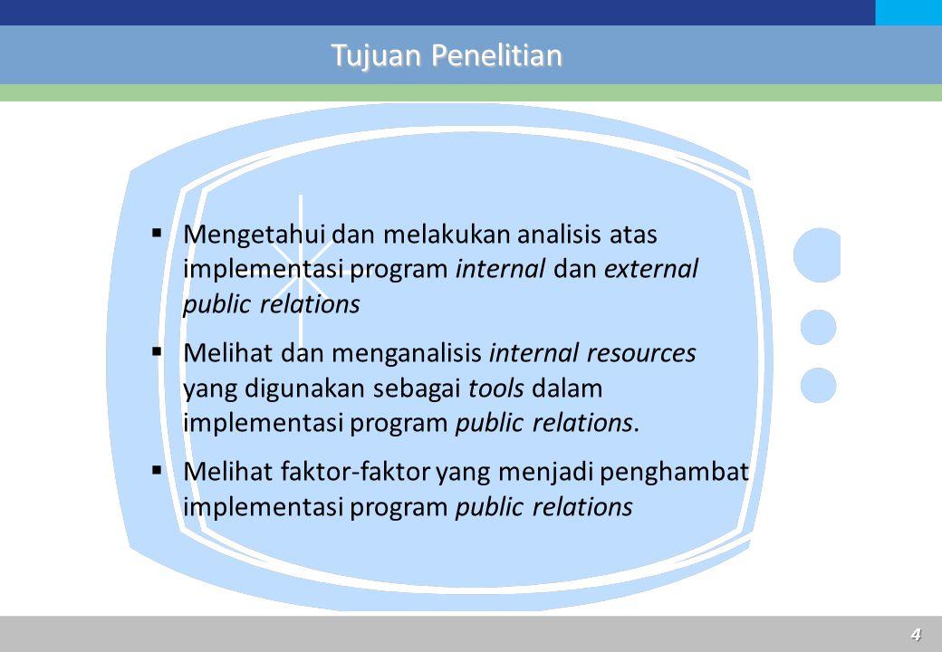  Mengetahui dan melakukan analisis atas implementasi program internal dan external public relations  Melihat dan menganalisis internal resources yan