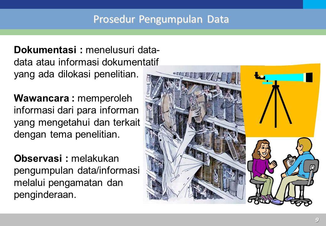 Prosedur Pengumpulan Data Dokumentasi : menelusuri data- data atau informasi dokumentatif yang ada dilokasi penelitian. Wawancara : memperoleh informa