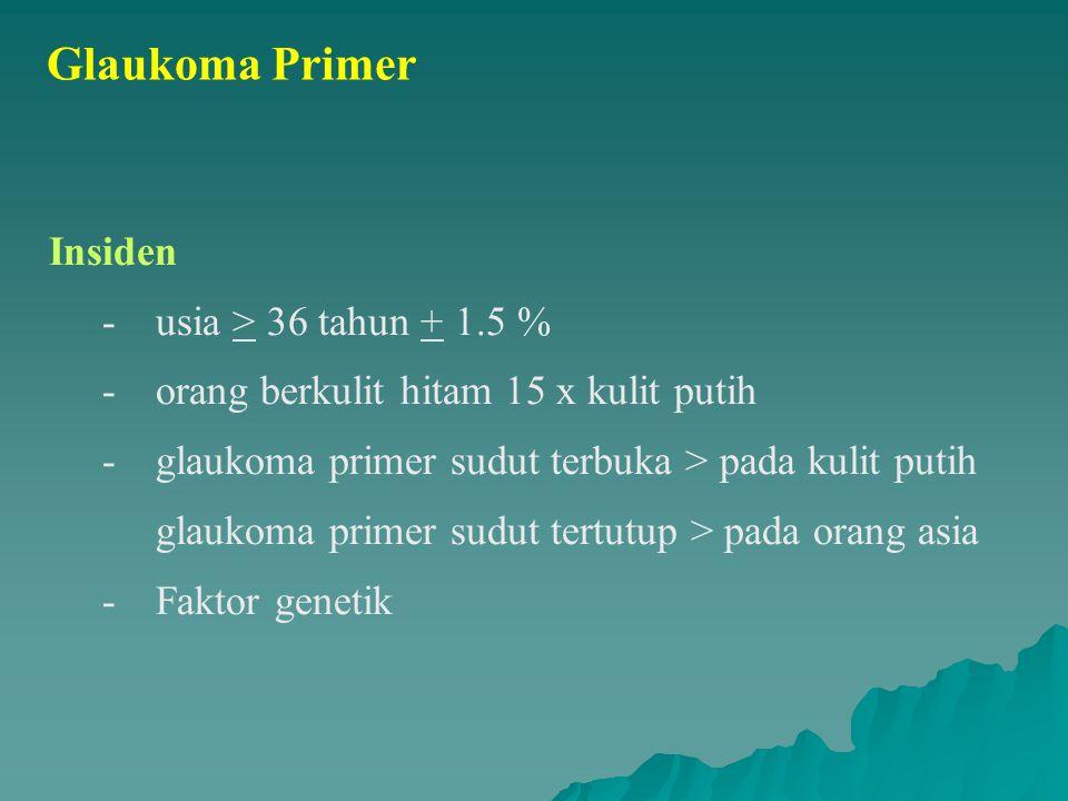 Glaukoma Primer Insiden - usia > 36 tahun + 1.5 % - orang berkulit hitam 15 x kulit putih - glaukoma primer sudut terbuka > pada kulit putih glaukoma primer sudut tertutup > pada orang asia - Faktor genetik