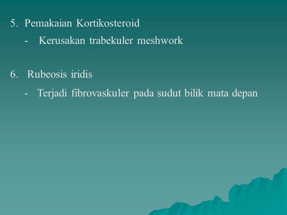 5.Pemakaian Kortikosteroid -Kerusakan trabekuler meshwork 6.