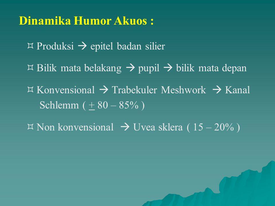 Dinamika Humor Akuos :  Produksi  epitel badan silier  Bilik mata belakang  pupil  bilik mata depan  Konvensional  Trabekuler Meshwork  Kanal Schlemm ( + 80 – 85% )  Non konvensional  Uvea sklera ( 15 – 20% )