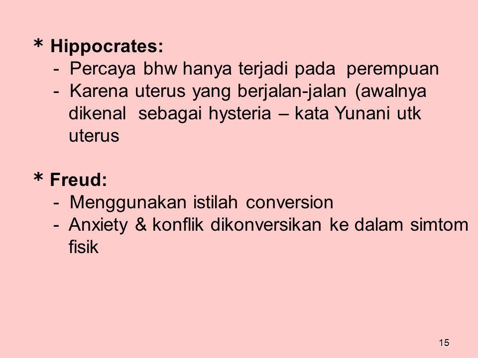 15 * Hippocrates: - Percaya bhw hanya terjadi pada perempuan - Karena uterus yang berjalan-jalan (awalnya dikenal sebagai hysteria – kata Yunani utk u