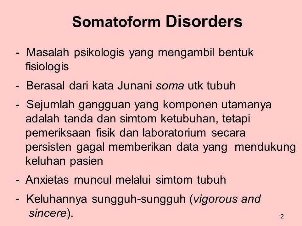 2 Somatoform Disorders - Masalah psikologis yang mengambil bentuk fisiologis - Berasal dari kata Junani soma utk tubuh - Sejumlah gangguan yang kompon