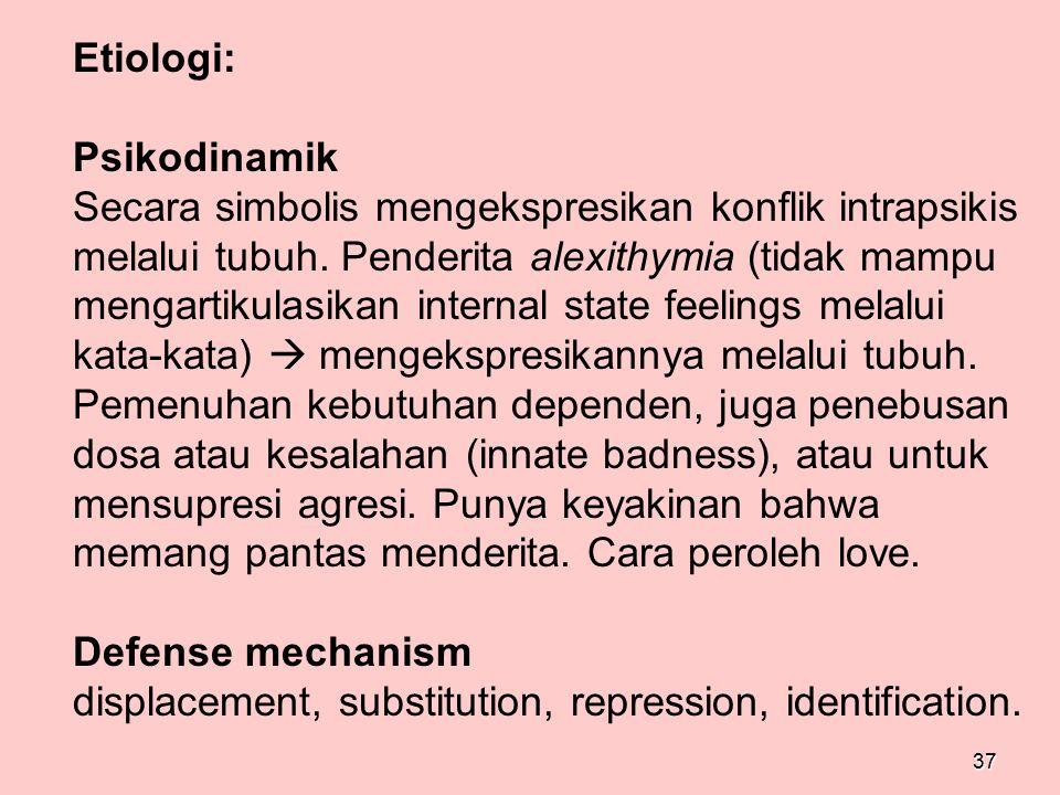37 Etiologi: Psikodinamik Secara simbolis mengekspresikan konflik intrapsikis melalui tubuh. Penderita alexithymia (tidak mampu mengartikulasikan inte