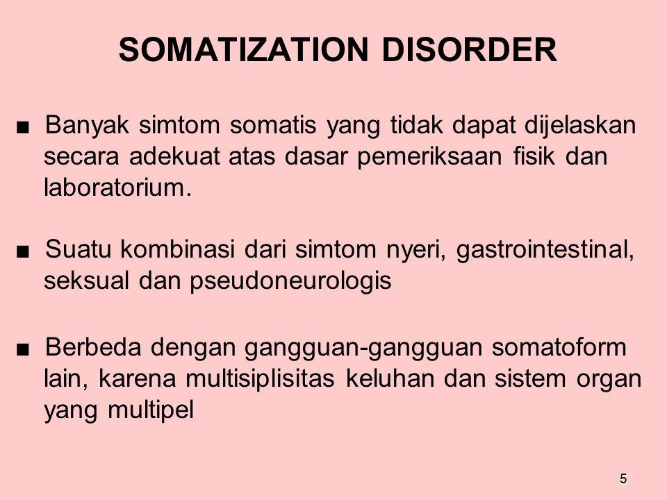 SOMATIZATION DISORDER ■ Banyak simtom somatis yang tidak dapat dijelaskan secara adekuat atas dasar pemeriksaan fisik dan laboratorium. ■ Suatu kombin