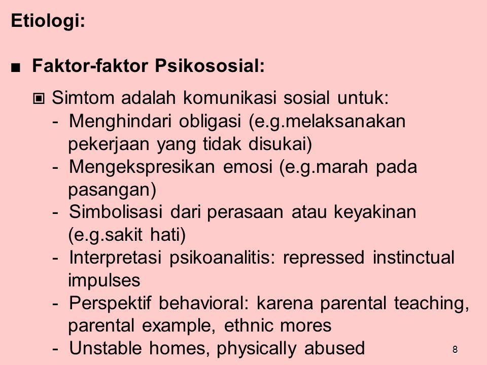 Etiologi: ■ Faktor-faktor Psikososial: ▣ Simtom adalah komunikasi sosial untuk: - Menghindari obligasi (e.g.melaksanakan pekerjaan yang tidak disukai)