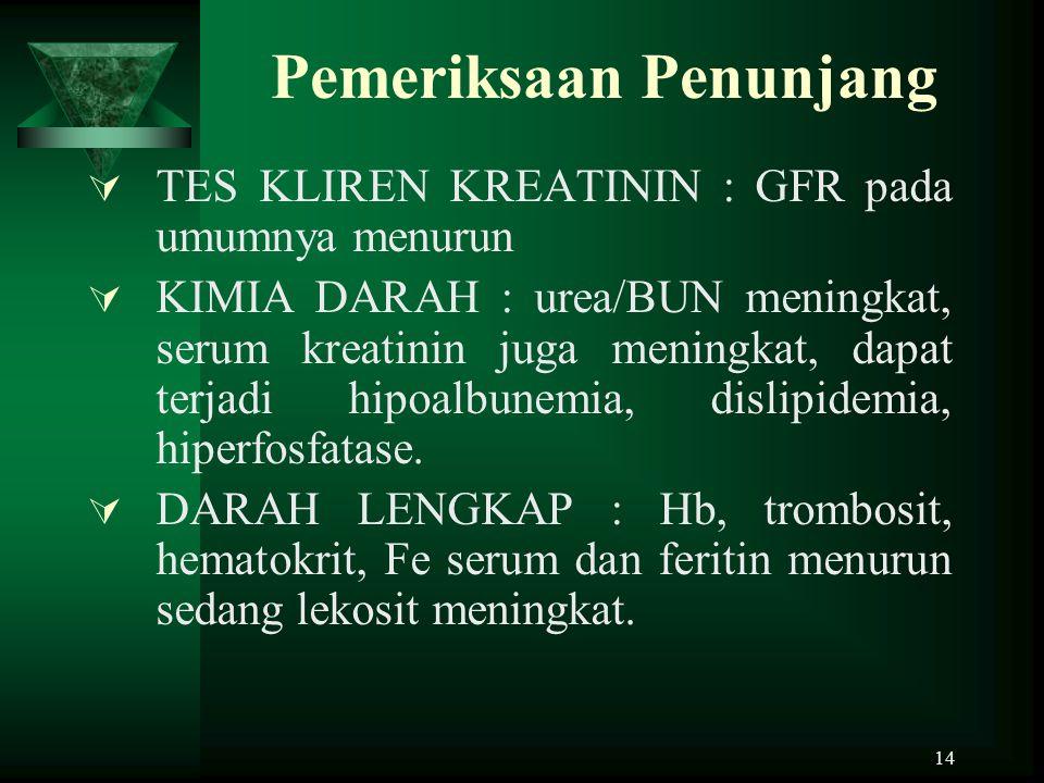 14 Pemeriksaan Penunjang  TES KLIREN KREATININ : GFR pada umumnya menurun  KIMIA DARAH : urea/BUN meningkat, serum kreatinin juga meningkat, dapat t