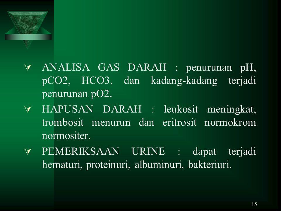 15  ANALISA GAS DARAH : penurunan pH, pCO2, HCO3, dan kadang-kadang terjadi penurunan pO2.  HAPUSAN DARAH : leukosit meningkat, trombosit menurun da